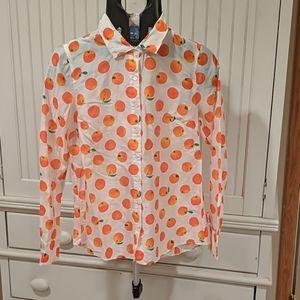 J. Crew Perfect Shirt in Orange Print